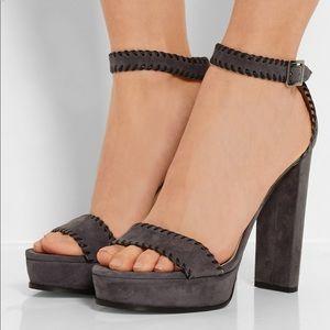 JIMMY CHOO Holly Suede 120mm Platform Sandal, Grey